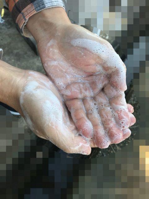 オリーブオイル石鹸で手を洗う